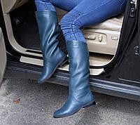 Женские сапоги из натуральной кожи на средней высоты каблуке