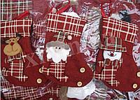 Носок новогодний для подарков. Сапожок на елку. Рождественский носок.