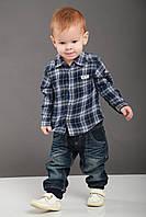 Детская рубашка для мальчика Нарядная одежда для мальчиков BRUMS Италия 123BDDC006 голубой-синий