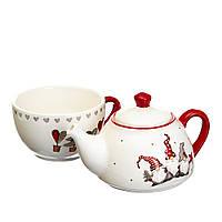 Набор новогодней посуды: чайник и чашка с гномами (керамика), фото 1