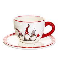 """Новогодний набор: чашка с блюдцем """"Гномы"""" (керамика), фото 1"""