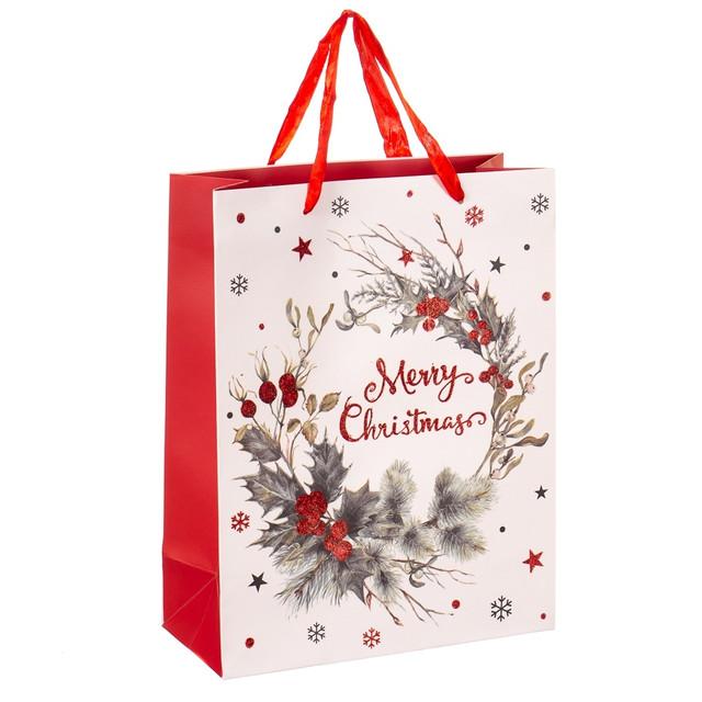 Новогодние картонные подарочные пакеты