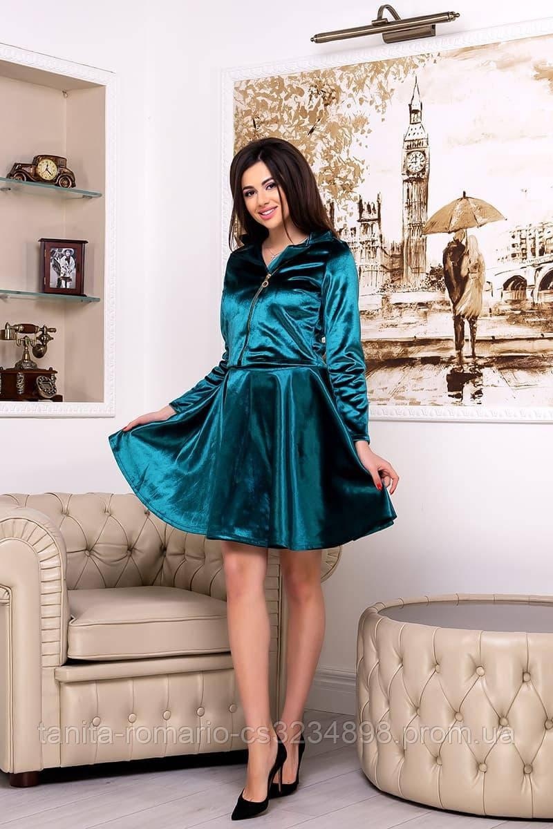 Повседневное платье 7248e Изумрудный S M L