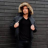Чорна куртка з капюшоном та хутром на резинці. Розміри: S, M, L, XL