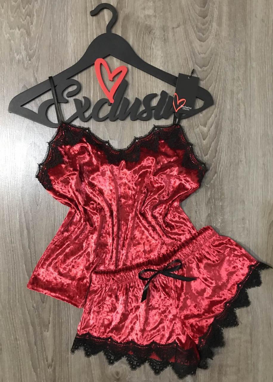 Красная велюровая пижама с хлопковым кружевом.  Женская одежда для дома и отдыха.