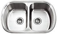 Врезная кухонная мойка Platinum 77*49 (мм) в покрытии Decor (структурная), с толщиной 0,8 (мм). Двойная