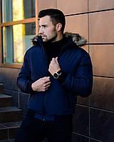 Куртка з капюшоном та хутром на резинці (синя)