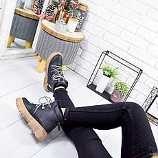 """Ботинки женские зимние, черного цвета из эко нубука """"8864"""". Черевики жіночі. Ботинки теплые, фото 3"""