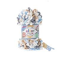 Пряжа  с петельками Alize Puffy Fine Color 5946 (Пуффи Файн Колор Ализе) для вязания без спиц руками