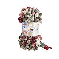 Пряжа  с петельками Alize Puffy Fine Color 6039 (Пуффи Файн Колор Ализе) для вязания без спиц руками