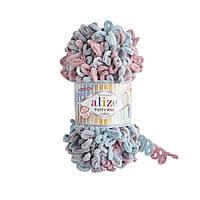Пряжа  с петельками Alize Puffy Fine Color 6041 (Пуффи Файн Колор Ализе) для вязания без спиц руками