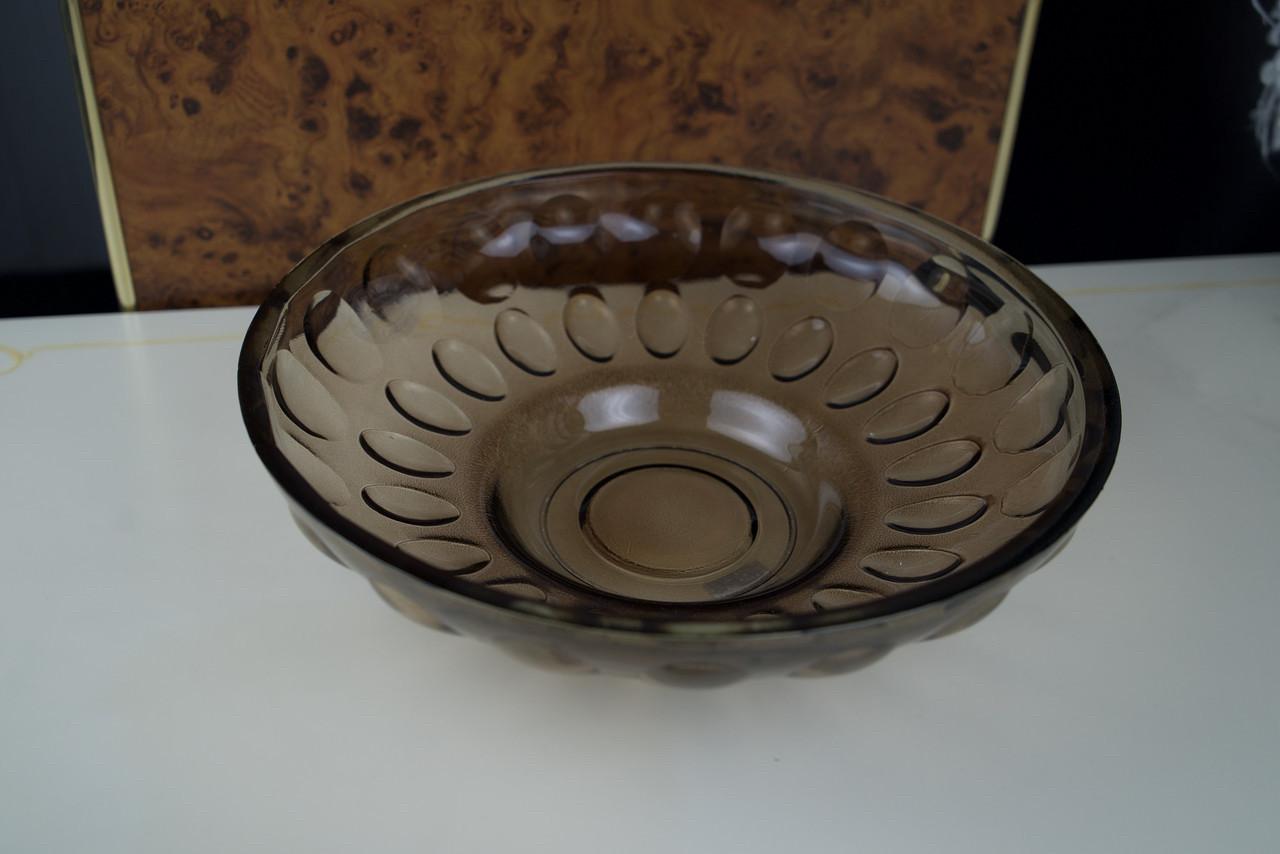 Фруктовниця цукерниця кругла велика скляна коричнева