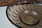 Фруктовниця цукерниця кругла велика скляна коричнева, фото 2