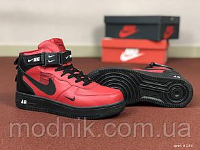 Мужские зимние кроссовки Nike Air Force (черно-красные)