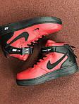 Мужские зимние кроссовки Nike Air Force (черно-красные), фото 4