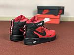 Мужские зимние кроссовки Nike Air Force (черно-красные), фото 6