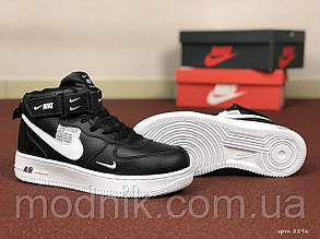 Женские зимние кроссовки Nike Air Force (черно-белые)
