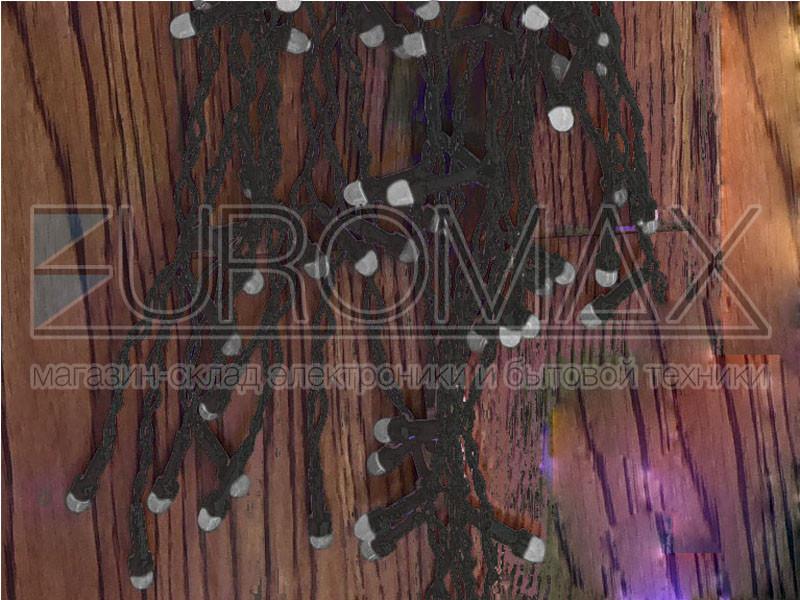 Гирлянда Дождик черный провод 3,3мм с вилкой и матовой круглой лампой уличная 120LED (синий) 16шт 12