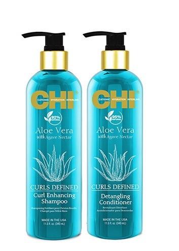 Шампунь и кондиционер для ухода за вьющими волосами с алоэ CHI Aloe Vera Curl Care (разлив) 100 гр*2