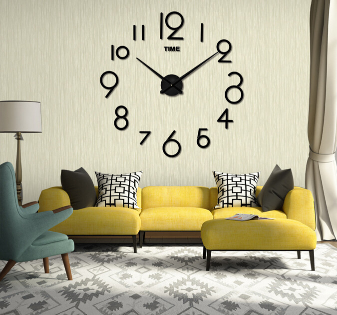 Настенные 3D часы Adenki 4227 Черные (16-4227-1)