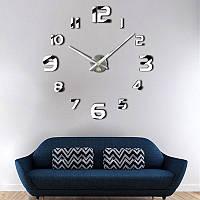 Настенные 3D часы Adenki 4228 Серебристые (16-4228-1)