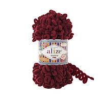 Пряжа Alize Puffy Fine 107 вишня (Пуффи Файн Ализе) для вязания без спиц руками