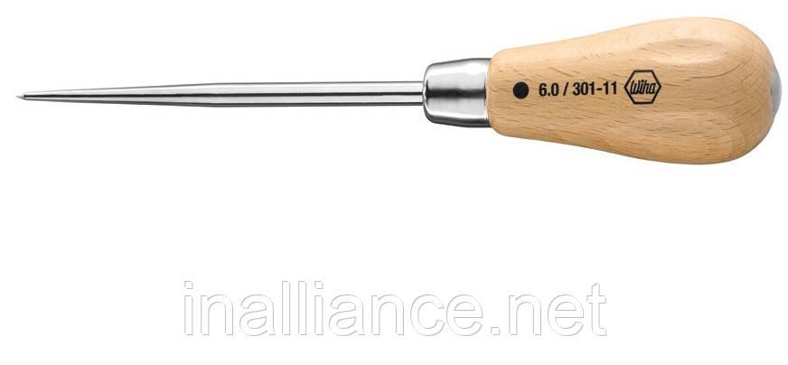 Пробиватель шило з круглим наконечником дерев'яною рукояткою і ударної пластиною Wiha 32180