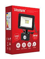 Світлодіодний прожектор з датчиком руху Vestum 20W 2 000Лм 6500K 175-250V IP65 1-VS-3010