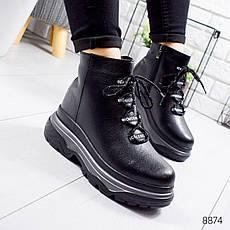 """Ботинки женские зимние, черного цвета из натуральной кожи """"8874"""". Черевики жіночі. Ботинки теплые, фото 3"""