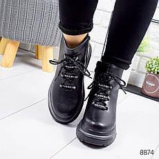 """Ботинки женские зимние, черного цвета из натуральной кожи """"8874"""". Черевики жіночі. Ботинки теплые, фото 2"""