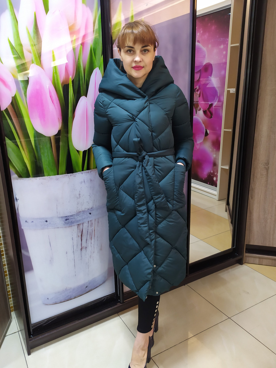 Женская куртка-пальто, зеленое