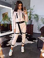 Комплект: Бежевый бомбер и брюки-карго декорированные застежкой-зажимом, фото 1