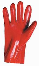 Перчатки защитные Červa химически стойкие Хлопок полное ПВХ покрытие красные 27 см, фото 2