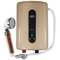 ➘Проточный водонагреватель c душем Nux XA-F60 Gold с дисплеем 5500В IPX4 50Гц электрический бойлер для нагрева