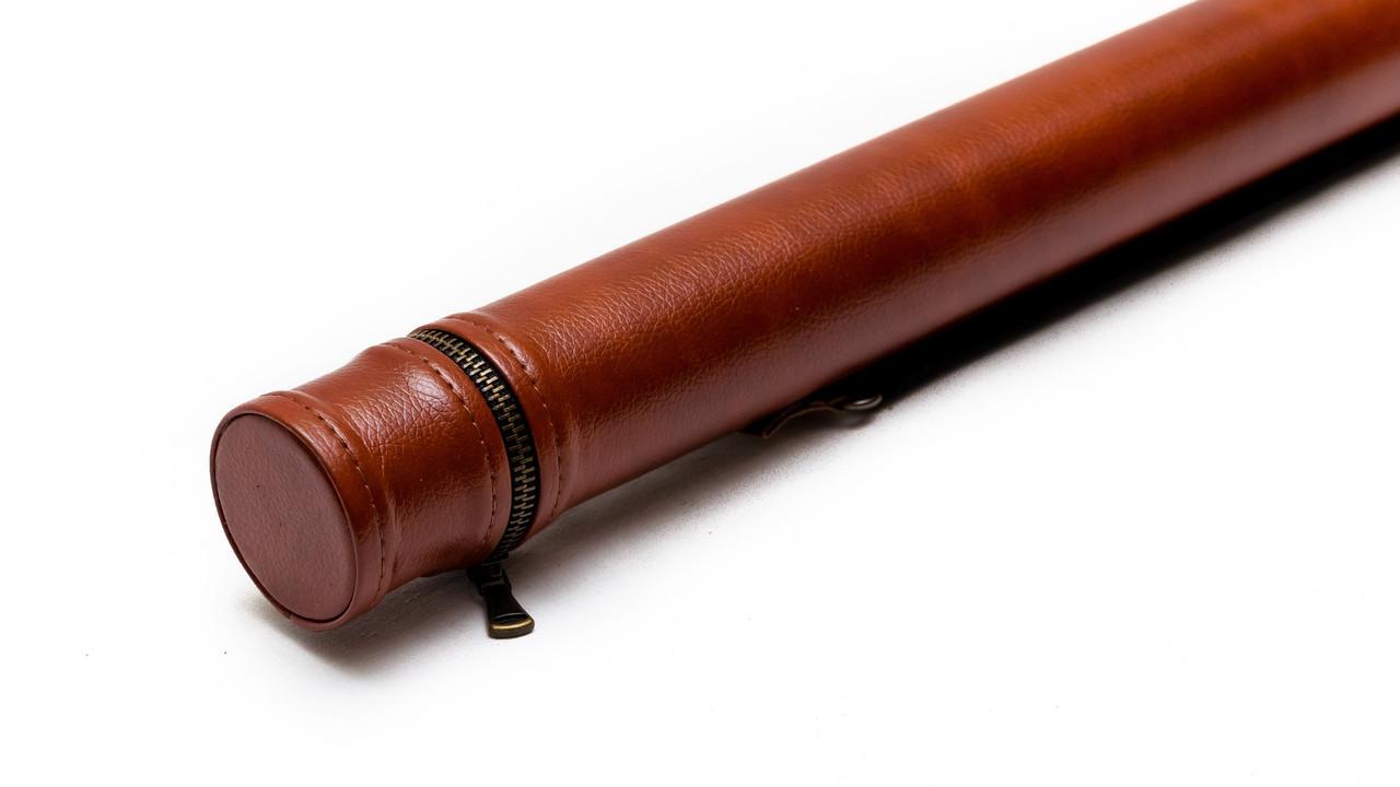 Тубус для кия без кармана коричневый гладкий с наплечным ремнем