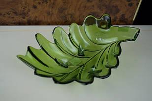 Фруктовниця листок скляна зелена