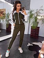 Спортивный костюм  в стиле колор блок с отделкой лентой, фото 1
