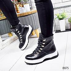 """Ботинки женские зимние, черного цвета из натуральной кожи """"8875"""". Черевики жіночі. Ботинки теплые, фото 2"""