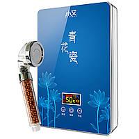 ✦Проточный водонагреватель c душем Nux XA-55B IPX4 электрический 5500В для нагрева воды вертикальный