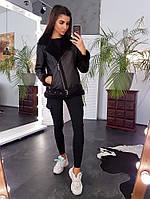 Черная комбинированная куртка-авиатор, фото 1