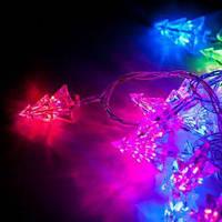 Світлодіодна гірлянда Ялинка RGB 28ламп (LED) прозорий (білий) дріт, фото 1