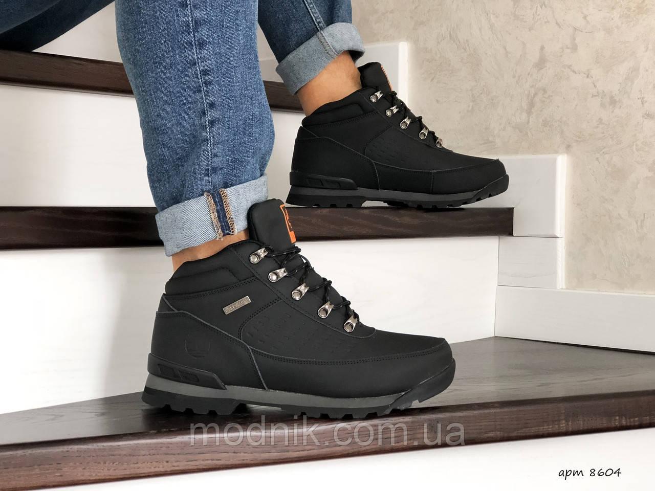 Мужские ботинки Timberland (черно-оранжевые) ЗИМА