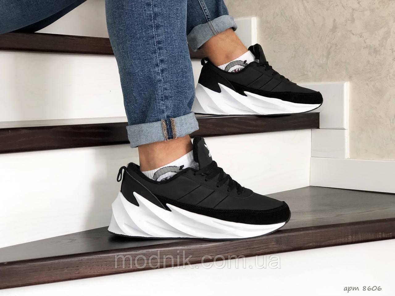 Мужские кроссовки Adidas Sharks (черно-белые) Зима