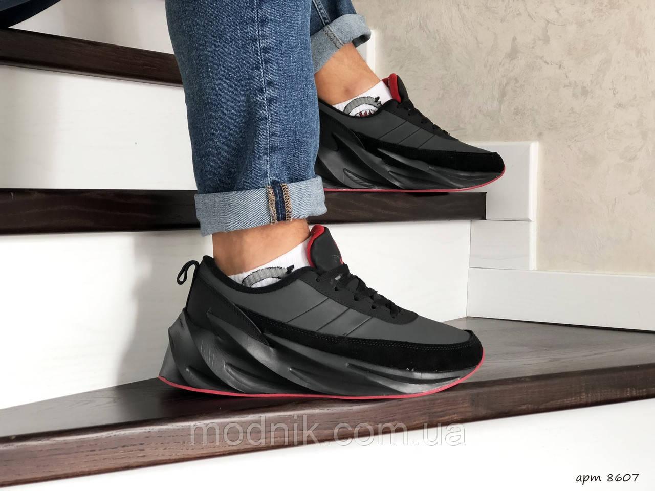 Мужские кроссовки Adidas Sharks (черно-серые) Зима