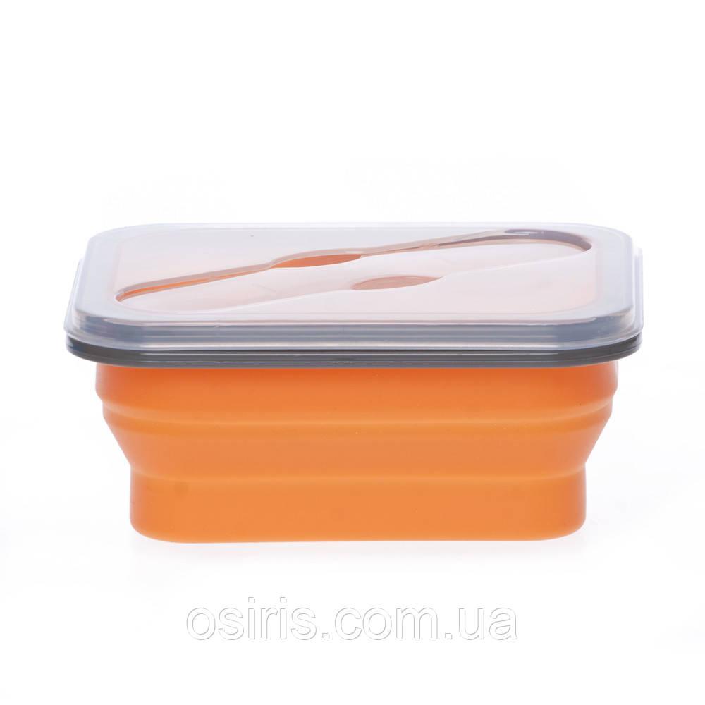 Ланчбокс силиконовый складной 600 мл оранжевый