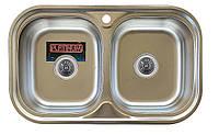 Врезная кухонная мойка Platinum 78*48 (мм) в покрытии Decor, с толщиной 0,8 (мм)Двойная.Закругленная.