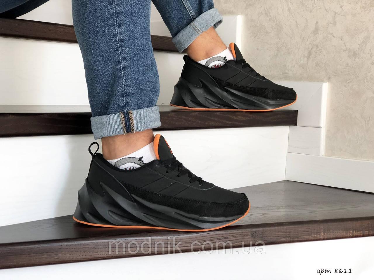 Мужские кроссовки Adidas Sharks (черно-оранжевые) Зима