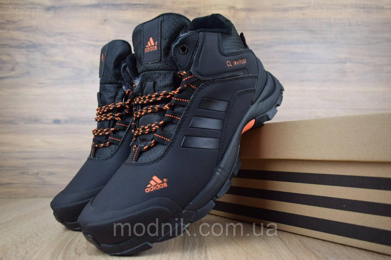 Мужские зимние кроссовки Adidas Climaproof (черно-оранжевые)