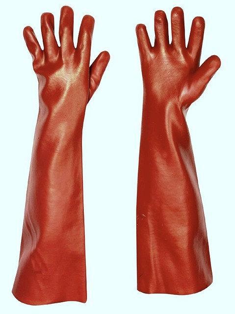 Перчатки защитные Červa химически стойкие Хлопок полное ПВХ покрытие 45 см красные