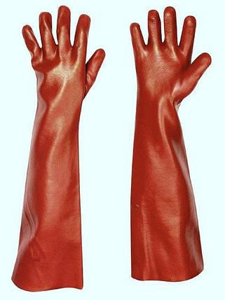 Перчатки защитные Červa химически стойкие Хлопок полное ПВХ покрытие 45 см красные, фото 2